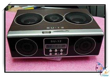 Free shipping Mini Sound box MP3 player Mobile Speaker boombox FM Radio SD Card reader USB SU-12