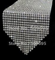"108"" wedding decoration crystal table runner, sparkle home decor rhinestone table runner"