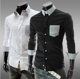 White Long Sleeve Dress on Men S Shirts Cotton Wash Jean Long Sleeve Business Shirts Men S Dress
