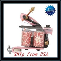 Free Shipping,Wholesale HB-WPT095 10 Warps Coils Tattoo Machine Liner Shader Gun Pink Ship from USA-H00994