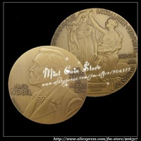 2pcs/lot High Quality  Albert EINSTEIN ALFRED NOBEL SOUVENIR MEDAL BRONZE Plated