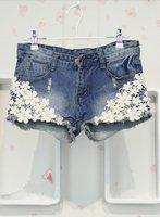 Free Shipping Fashion Korean Style Sweet Lace Embellished Denim Shorts Blue , Fashion Women's Shorts, Pants+Wholesale/Retail