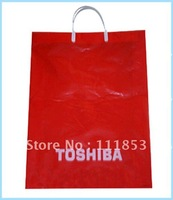 2012 wholesale and retail! Promotional plastics bags with customized logo !30*45*0.014cm,soft loop handle carrier bags