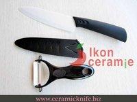 "Free Shipping! High Quality Zirconia New 100% 2-piece 6"" Scabbard Ceramic Knife and Ceramic Peeler Combination(AJ-D6001W-2C-BB1)"