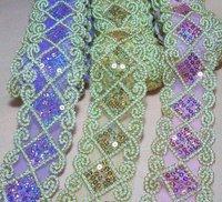 African Guipure Lace Fabric Lace Wholesale Sequins Purple Clothing Curtain Tablecloth Diy Part 5cm X 12m /retail 7color Select