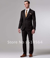 Wholesale Free shipping high quality 160's wool Custom made Men Business dark coffee suit (jacket+pants)