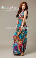 Size M-L,New Fashion sexy evening v-neck maxi women Print dress,Women's Bohemian beach dress with BRA free shipping LJ001
