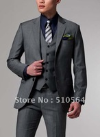 Wholesale Free shipping three pieces high quality 160's wool Custom made Men Business middle grey suit (jacket+pants+vest)