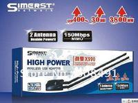 free shipping!Factory price Simerst x990 3800mW 30dbi high power Wifi Lan Card 2 Antenna USB Wifi Adapter