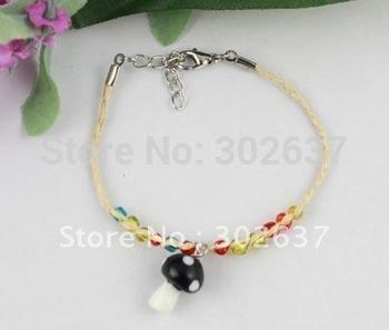 12PCS Glass mushroon drop Lucky Raffia Anklet Bracelets #21710