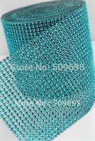 Free shipping 24rows x 10yards Aqua blue Diamond Mesh, bling party decoration diamond ribbon ,sparkle rhinestone wrap