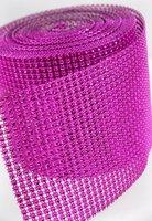 Free shipping 24rows x10yards pink bling diamond wrap wedding decor, sparkle rhinestone ribbon for party decoration