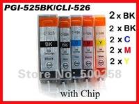 10 pcs New Compatible ink cartridge for Canon PIXMA Printer IP4800 IP4850 IP4950 IX6250 IX6650 MG5150 MG5250 PGI-525/CLI-526
