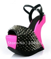 Fashion pink goatskin with silver rivets peep-toe women&#39;s High Heels pumps shoes,platform shoes