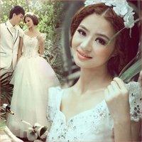 Свадебное платье Luxury rhinestone sexy deep V-neck bride short trailing 2013 royal #096