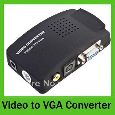 PC Laptop Composite AV/S Video To VGA TV Converter Monitor Adapter Switch Box(China (Mainland))