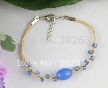 12PCS Blue glass beaded Lucky Raffia Anklet Bracelets #21712