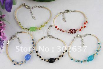 10PCS Mixed glass beaded Lucky Raffia Anklet Bracelets #21714