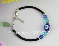12PCS Blue Evil Eye Glass Round Velvet Bracelets #21724