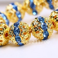 Free shipping Wholesale 10pc/lot 10mm Blue Rhinestone Flower Round Spacers Beads Findings
