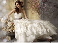 Bset Sellers Custom Made Organza A-line Off-Shoulder Sweetheart Floor-Length Cheap Wedding Dress