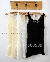 FREE SHPPING 3 Colors Solid Full Lace Sexy Ladies' Camisoles & Tanks/Women's Camisoles & Tanks/Sleeveless T-shirt