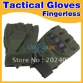 new Fingerless Airsoft Tactical Carbon Knuckle Motorcycle Cycling Gloves Army Green free shipping