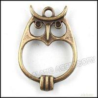 60pcs/lot Hot Sale Antique Bronze Plated Owl Shape Charms Zinc Alloy Pendant Fit Jewelry Making Pendant 34*23*3mm 142239