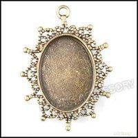 30pcs/lot Hot Sale Antique Bronze Plated Oval Frame Shape Charms Zinc Alloy Pendant Fit Jewelry Making Pendant 41*31*3mm 142238
