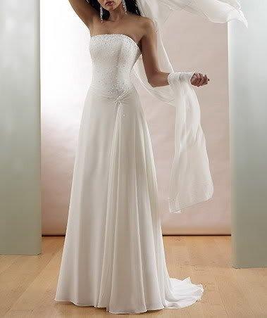 White Chiffon Dress on Ages White Ivory Chiffon Beads Satin Strapless Bridal Wedding Dress