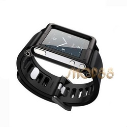 Black Aluminum Watch band Wrist Cover Case for iPod Nano 6th 6G Free Shipping(China (Mainland))