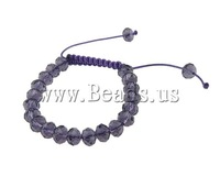 Free Shipping Fashion Shamballa Bracelet, wax cord & faceted crystal beads, 10x7mm, Sold per 7.5 Inch- Strand