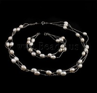 Free shipping!!!Natural Cultured Freshwater Pearl Jewelry Sets,Vintage Jewelry, bracelet & necklace, brass spring ring clasp