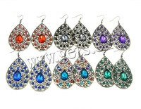 Free Shipping Zinc Alloy Drop Earrings, mixed design & color, with iron hook,  23.5x51mm, 56x90mm, 1 Bag=60 Pairs, Sold by Bag