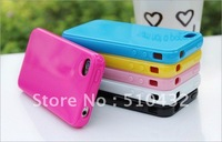 Candy  Solid color silicone Case for iphone 4s 4g,10pcs/lot,HK Post Free shipping,  A0010