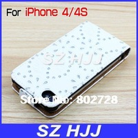 For iPhone 4 4G 4s Shinning Leather Case Cover Vertical Lether Bag Free Shipping by DHL or EMS