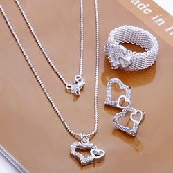 Big Discount S0181 whoelsae 925 silver jewelry set fashion crystal double heart pendent necklace ring earring sets jewelery(China (Mainland))