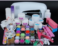 Wholesale - -9W UV white dryer lamp 24 color Acrylic Powder Nail Art Kit gel tools Set 303