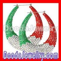 colorful rhinestone Bamboo Earrings wholesale BW6236 2pcs/lot Free Shipping