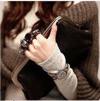 2012Hot Sale Punk  PU fashion handbag   Diamond & Skeleton&ring Clutch Bags Current dinner bag free shipping