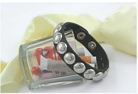 Wholesale - 2012 New Free Shipping Women&amp;#39;s Bracelet fashion Punk rivets Hasp leather bracelets 30pcs/lot