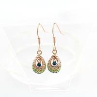 Wholesale 18K Rose Gold Plated Crystal Peacock Feather Drop Earring, Free Shipping Fashion Engagement Earring for Sale 2 Color