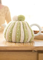 Free Shipping---Stylish Hand Made Knitted Beads Tea Cosy with  Pompoms