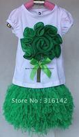 Футболка для девочки baby set cotton B2W2 2pcs suit good quality hot pink + white ED-362