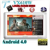 Free shipping 7 inch Onda VX610W Allwinner A10 512MB/8GB Android 4.0 1.5GHz TV-OUT Capacitive tablet pc