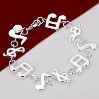 H242 Wholesale 925 Silver Music Note Bracelets fashion Jewelry women Prata pulseras designer new 2014  innovative items