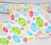 "free shipping 5/8"" candy printed ribbon  grosgrain ribbon wholesale blue,16mm satin ribbon 50yards/roll"