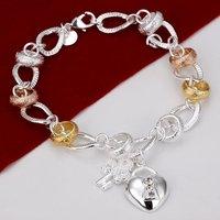 H233 Wholesale Heart key lock 925 Silver Bracelets prata de pulseras mujer women innovative items