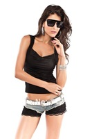Crazy Promotion, Cpam Free Shipping! Sexy T Shirt, Fashion Top, Sexy Tees, White/Black Color, One size, 25045b