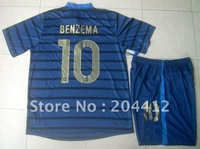 12/13 France Short Sleeve Home Blue Soccer Kit Jersey Shirt & Shorts Benzema 10 Adult Sizes W/Logo FREE SHIPPING